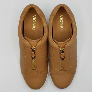 New Vionic Ellis Black Leather SlipOn Walking Shoe//Zipper MSRP $120